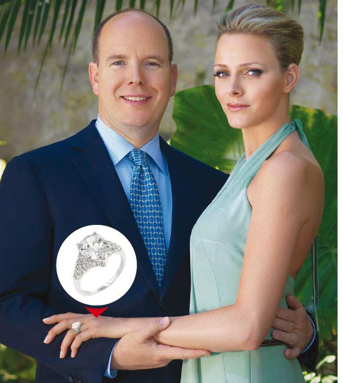 Gracieuse, la bague Thétys de dix carats a été créée sur mesure par la maison Repossi pour Charlene Wittstock.