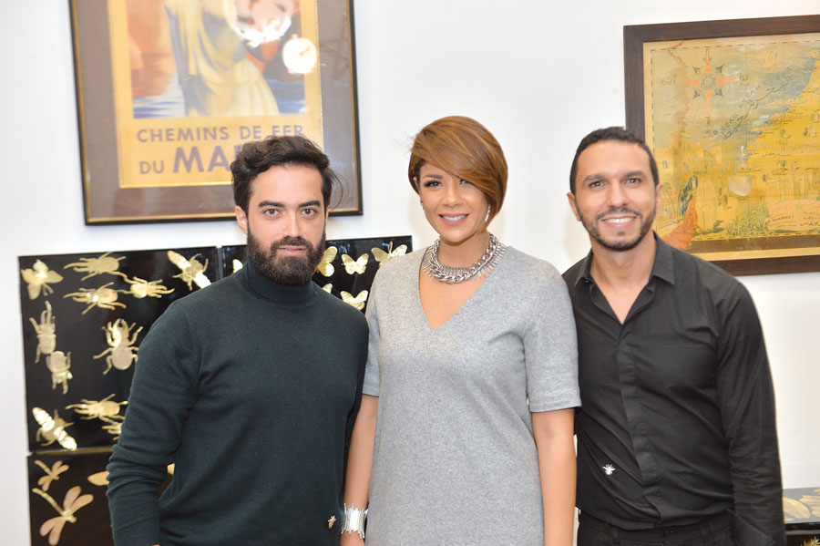 Leila Haddioui avec les designers Mohcyn Bousfiha et Mouad Mohsine